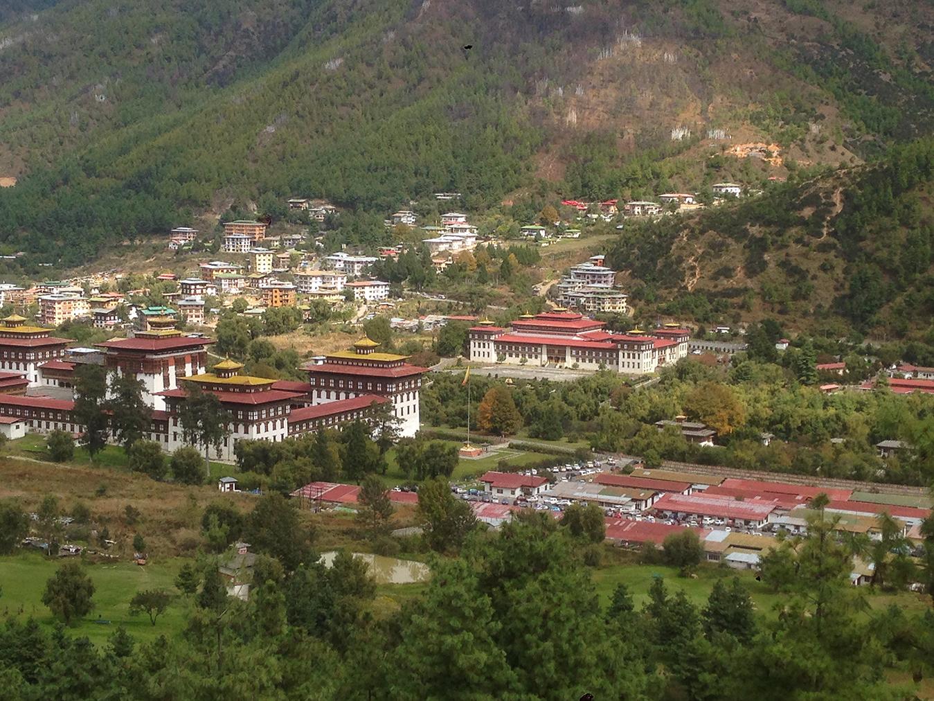 Pohľad na hlavné mesto Thimbu