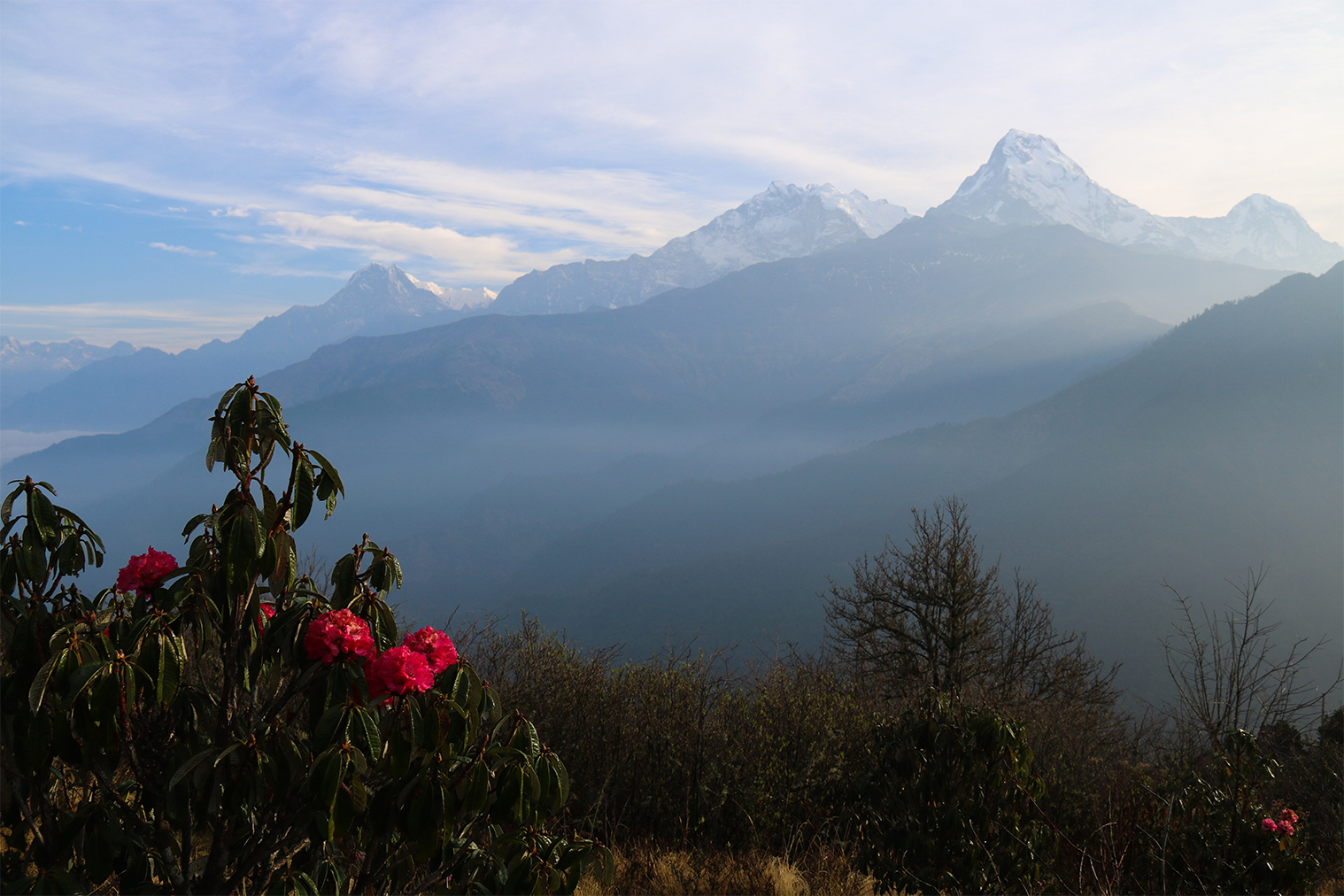 výhľad z Poon Hill (Annapurna I a Annapurna South)