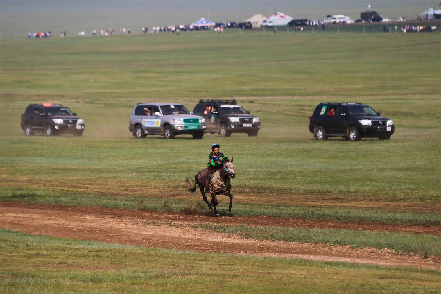 Víťaz súťaže 5-ročných koní beží do cieľa