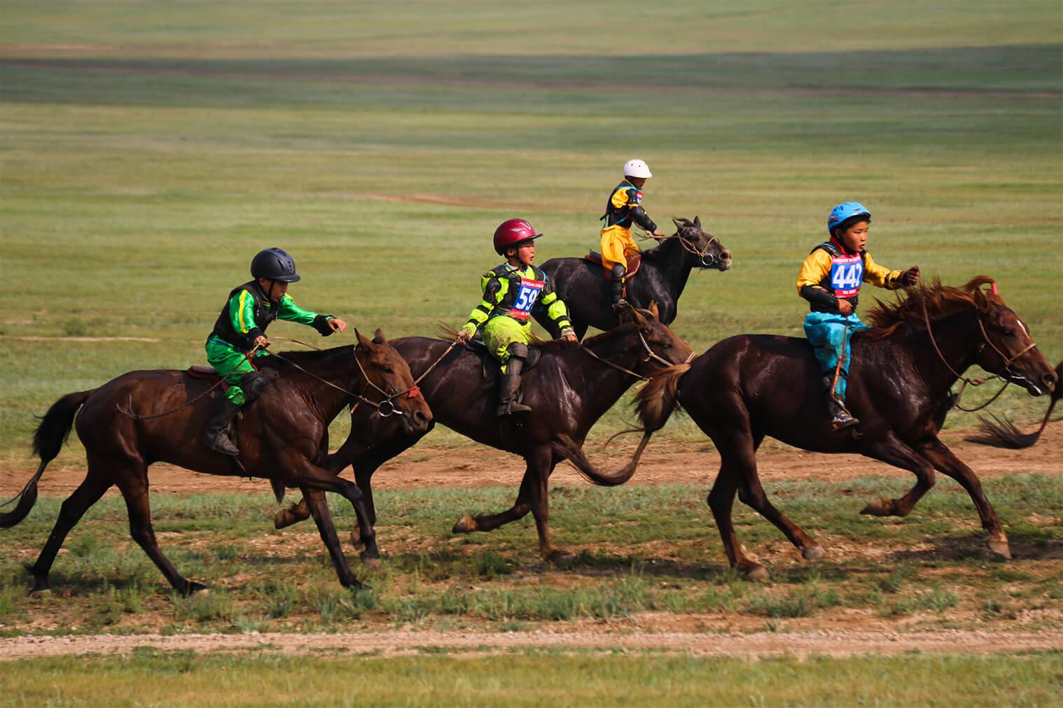 Preteky päťročných koní počas festivalu Naadam